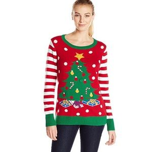 Ugly Christmas Sweater w Lightup Tree Womens Small